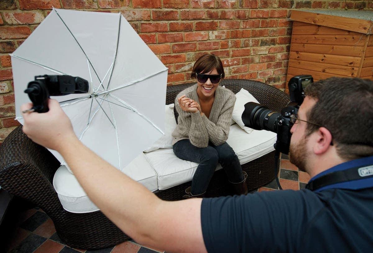выполнить подключение как фотографировать с зонтом на просвет широко
